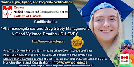 "On-line Certification in ""Pharmacovigilance and Drug Safety Management & Good Vigilance Practice (ICH-GVP)"" - Start today! tickets"