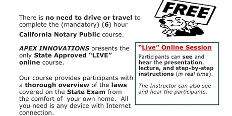 """""""FREE"""" - LIVE ONLINE NOTARY PUBLIC COURSE - SATURDAY, JUNE 13, 2020 tickets"""