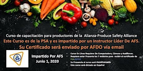 Curso de capacitación para productores de la  Alianza-Produce Safety Alliance tickets