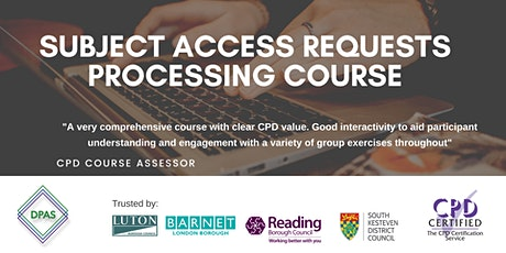 Virtual Subject Access Requests Course - CPD Accredited £200.00 + VAT tickets