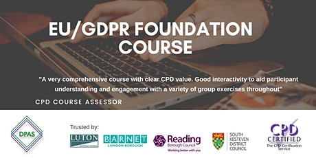 Virtual GDPR Foundation Level Course - CPD Accredited  - £200 + VAT tickets