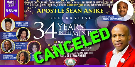 Honoring Apostle SEAN ANIKE's 34 Years in the Ministry[CANCELED] tickets