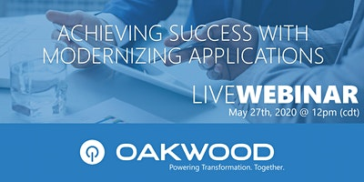 Live Webinar: Achieving Success with Modernizing Applications
