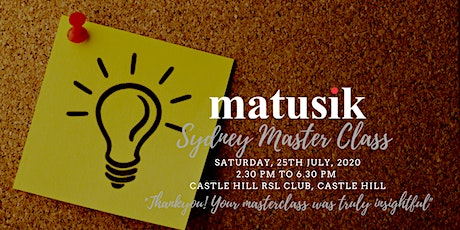 Matusik Sydney Master Class : Saturday 12th September 2020 tickets