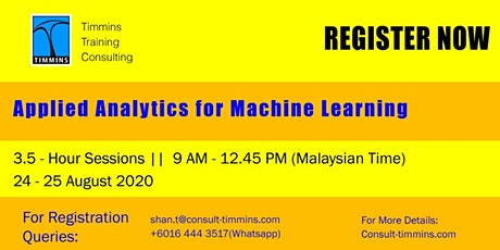 Webinar - Applied Analytics For Machine Learning tickets