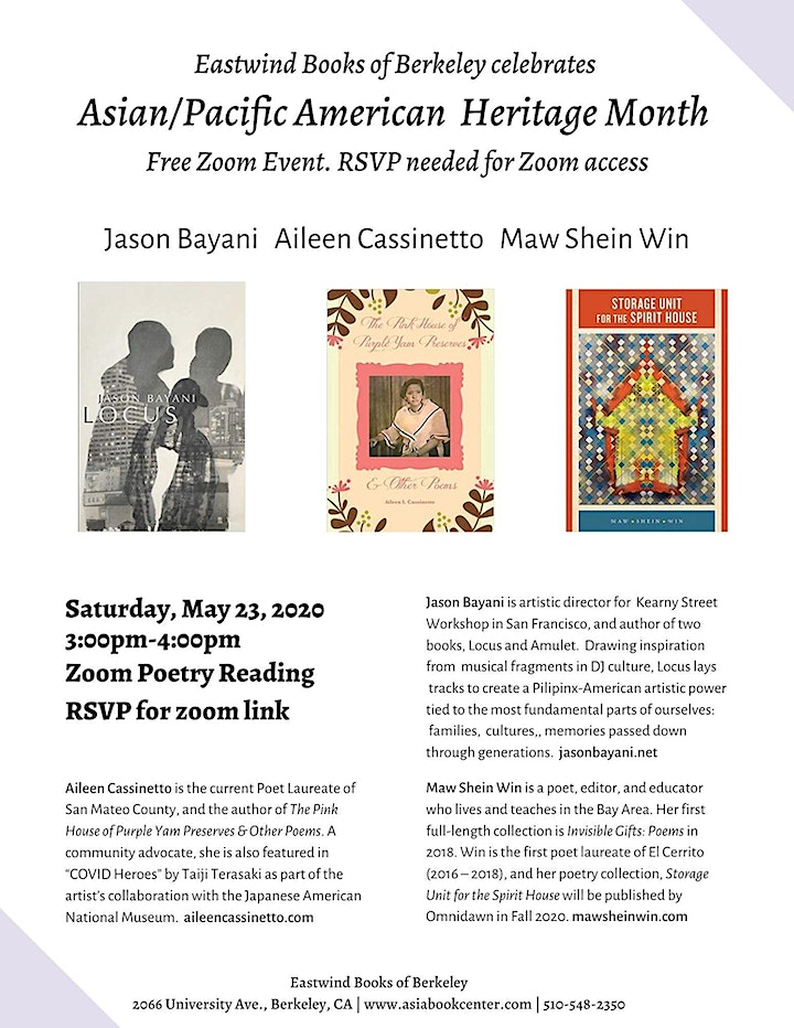 Celebrate APA Heritage with the Poetry of J.Bayani, A.Cassinetto, M.Win image