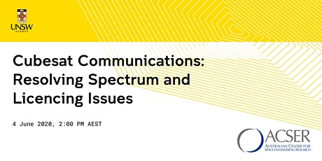 [WEBINAR] Cubesat Communications: Resolving Spectrum and Licencing Issues tickets