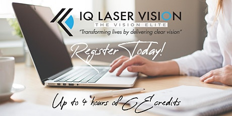 Virtual IQ LASER VISION CE Webinar | Up 4 Hours CE Credit tickets