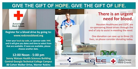 Red Cross Blood Drives co-sponsored by Houston Healthcare and CGTC tickets