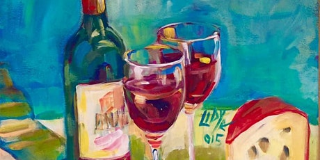 Cheese & Wine Online PJ Painting Party. tickets