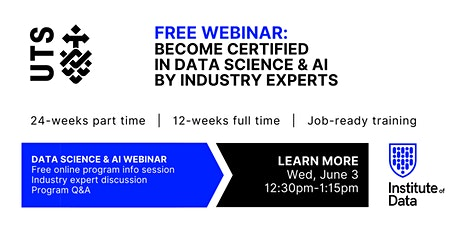 Webinar - Data Science & AI Program - Online Info Session: 12:30pm - June 3 tickets