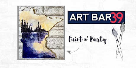 Paint & Sip | ART BAR 39 | Public Event | Purple/Yellow Lake MN Shape tickets
