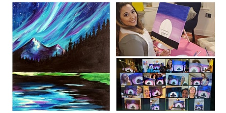 """Live Virtual Instructor Guided Painting Class - """"Northern Lights"""" tickets"""