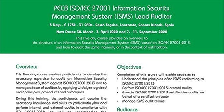 PECB ISO/IEC 27001 Information Security Management System Lead Auditor tickets