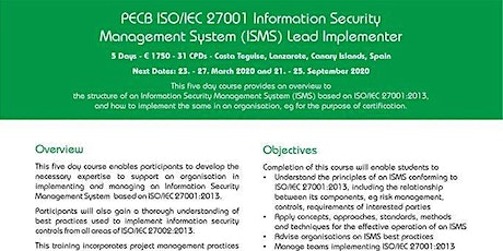 PECB ISO/IEC 27001 Information Security Management System Lead Implementer tickets