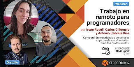Webinar: Trabajo en remoto para programadores entradas