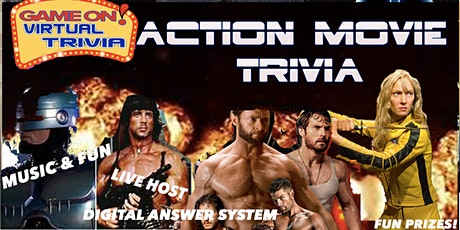 ACTION  MOVIE TRIVIA  Night Play &  answer in real time  Fun & Prizes tickets