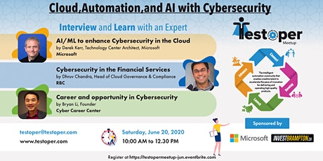 Testoper Meetup Jun 20, 2020 (Cloud,Automation,and AI with Cybersecurity) tickets