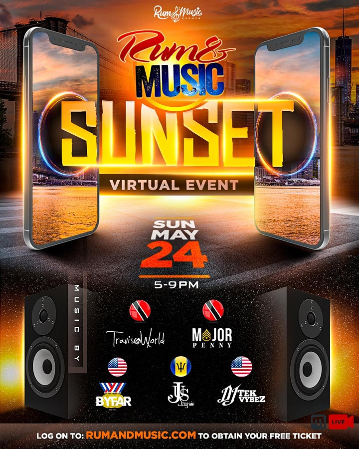 """Rum and Music SUNSET """"Virtual Event"""" image"""