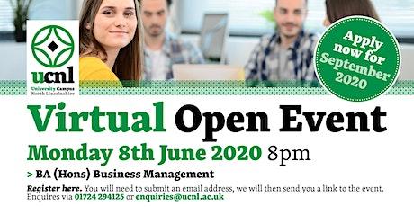 BA (Hons) Business and Management Virtual Open Event biglietti