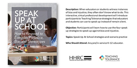 Speak Up at School: How to Respond to Everyday Prejudice, Bias and Stereotypes tickets