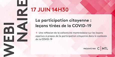 Webinaire: La participation citoyenne: leçons tirées de la COVID-19 billets