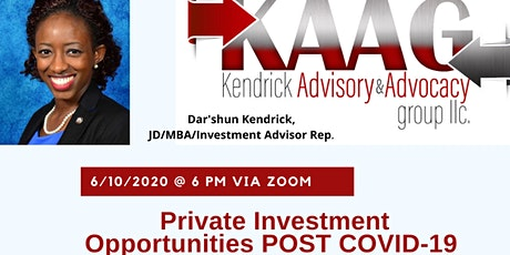 Private Investment Opportunities POST COVID-19 tickets