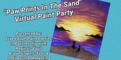 """""""Paw Prints In The Sand"""" Virtual Paint Party!!! tickets"""