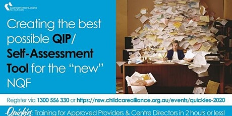 Quickies: Creating the best possible QIP/Self-Assessment Tool  WEBINAR tickets