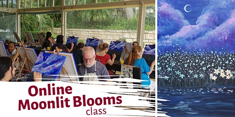 Online Painting Class by Cabernet & Canvas: Moonlit Blooms tickets