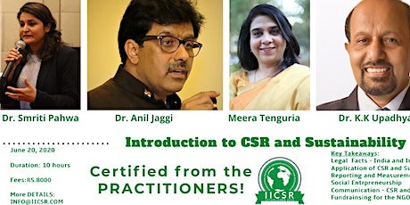 Certified CSR and Sustainability Practitioner tickets