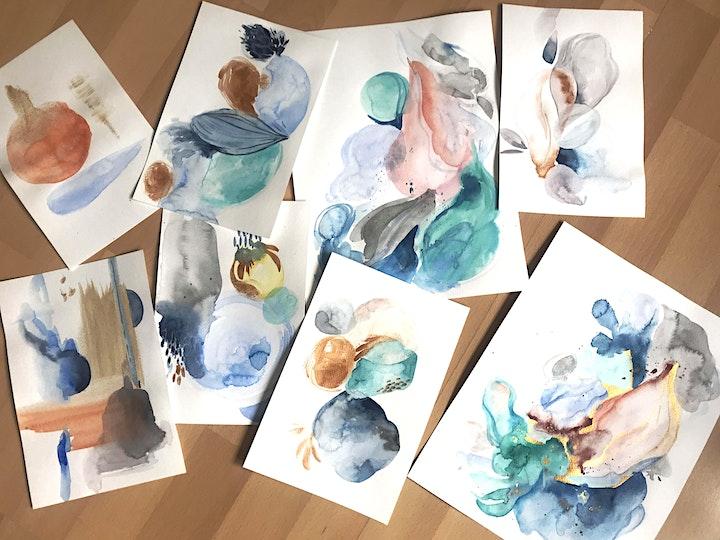 Abstrakte Aquarelle Live ZOOM Onlinekurs - Kreativ zu Hause: Bild