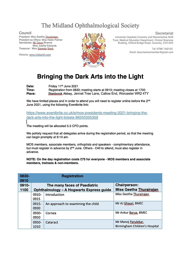 MOS President's Meeting 2021 - Bringing the Dark Arts into the Light image