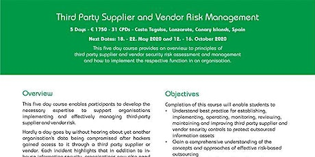 ISO in the Sun: Third Party Supplier and Vendor Risk Management tickets