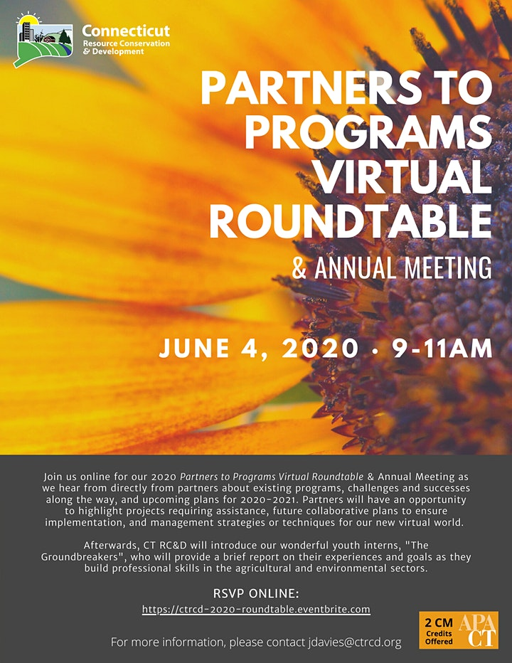 CT RC&D's Partners to Programs Virtual Roundtable & Annual Meeting image