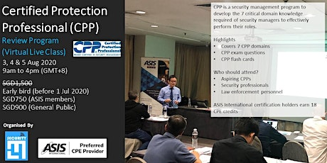Certified Protection Professional (CPP) Review Program 3, 4 & 5 Aug 2020 tickets