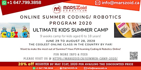 Ultimate Kids Online Summer Camp - Jun 29 to Aug 28 - MARSzoid Robotics tickets