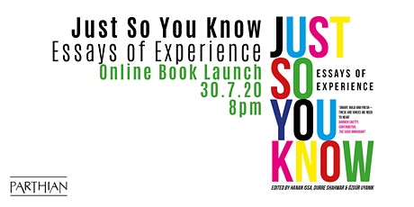 BOOK LAUNCH - Just So You Know: Essays of Experience tickets