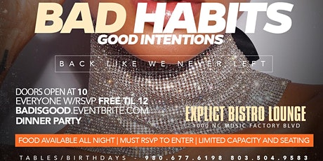BAD HABITS DINNER PARTY at EXPLICT LOUNGE tickets