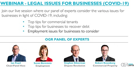WEBINAR - LEGAL ISSUES FOR BUSINESSES (COVID-19) tickets