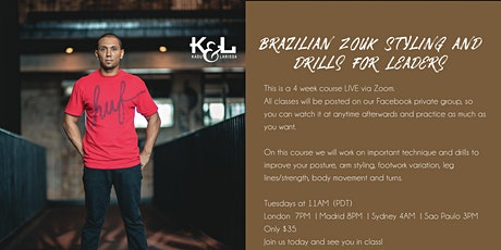 Brazilian Zouk Styling and Drills for Leaders with Kadu tickets