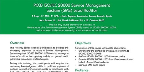 ISO in the Sun: PECB ISO/IEC 20000 Service Management System Lead Auditor tickets