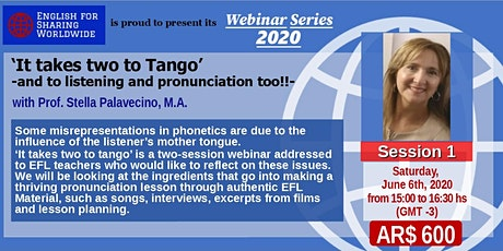 It takes TWO to tango' and to listening and pronunciation too! 1st session tickets