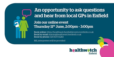 Opportunity to ask questions and hear from local GPs in Enfield tickets