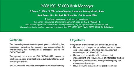 ISO in the Sun: PECB ISO 31000 Risk Manager tickets