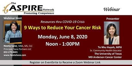Ways to Reduce Your Cancer Risk: Aspire Webinar, June 8 at Noon tickets