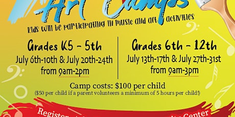 Art Camp Registration for July 13th-17th for grades 6th-12th tickets