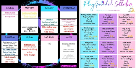 PlayGrounded Collective: 31st May - 6th June Unlimited Weekly Classes tickets