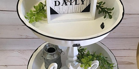 3 tier rustic farmhouse Tray stand tickets
