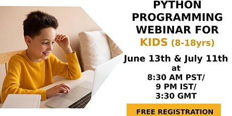 FREE webinar on Python Programming for Kids(8-18yrs) tickets